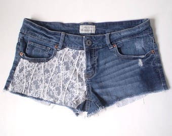 Adult Size 5/6 - Vintage Up-cycled Denim Shorts Jeans Hot Pants Kids Children Toddler Baby Infant