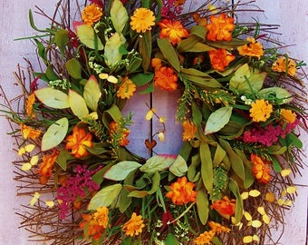 Fall Wreath-Fall Home Decor-Fall Front Door Wreath-Fall Floral Wreath-Fall Door Decor-Fall Door Wreath-ORANGE DAISY TWIG Door Wreath-Wreaths