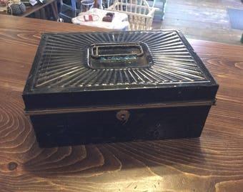 Vintage Metal Lock Box,Document Box, with keys