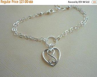 Christmas in July SALE Heart Infinity Bracelet,Gifts for Best Friends,Sterling Silver,Adjustable Bracelet,Double Strand,Sister Jewelry,Frien