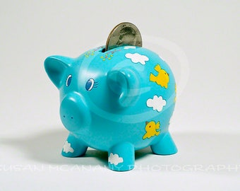 Bank Clipart, Piggy Bank Photograph, Savings Bank with Half Dollar Photo, Instant Download, Clip Art, Pig Bank Photo, Childrens Bank Photo