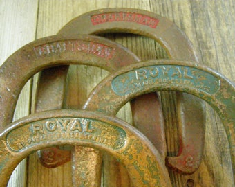 Four Vintage Cast Iron Hand Forged Pitching Horseshoes. Two Royal Horse Shoes. St Pierre Worcester, Mass #1. Two Craftsman Horseshoes #2.