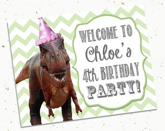 "Printable Chevron Dinosaur Birthday Party Door Sign -- 8.5x11"" -- T Rex"