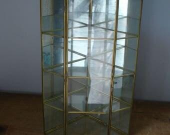 Vintage Display Case/Large Glass Display Case/Glass and Mirror Display Case/Brass and Glass