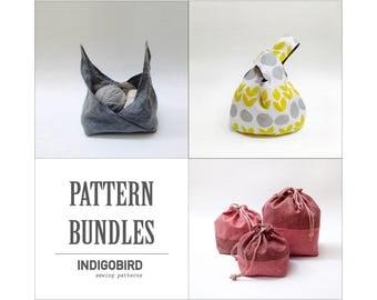 Knitting Bag, Project Bag, Knot Bag, Pattern bundles, Drawstring bag, bento bag