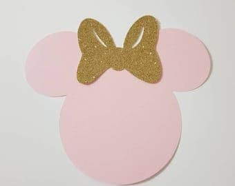 10 SETS Pink Minnie mouse head silhouette cut outs with gold GLITTER bows great for party invitations or banner