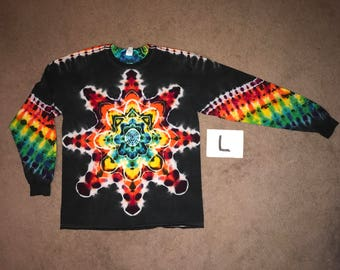 Tie Dye T-Shirt ~ Fire Mandala With Black Background ~ i_7848 in Long Sleeve Adult Large