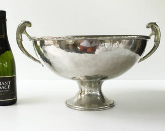 """SALE French Champagne Cooler...Hand Beaten Pewter...Diameter 15.1/2""""....weight 5500g (12lbs) maker Jean Goadere fabrication 1938-2009."""