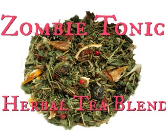 Zombie Tonic Blend - loose leaf herbal tea, nettle tea, rosemary tea, blueberry tea, brain tea, izombie, the walking dead, horror fandom tea
