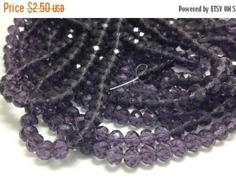 1 Bead Strand - 6x8mm Purple Rondelle Glass Crystal Beads BD0017