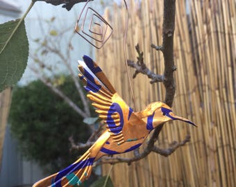 Hummingbird ornament made from recycled La Croix cans-Wedding Decor-Floral Arrangement-Upcycled Soda Can