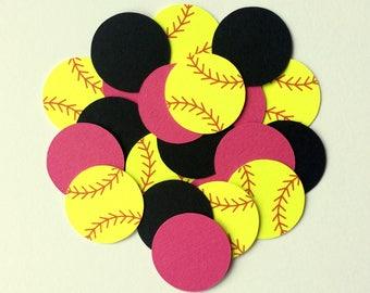Softball Confetti - Neon Yellow Softball Table Confetti - Girls Sports Themed Confetti - Softball Theme Party Decorations - Softball Decor