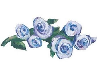 Shop Closing Sale!  Kates Blue Roses Wallies Wallpaper Cutouts -- 12108