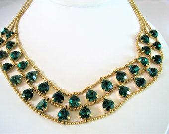 Green Rhinestone Necklace  - 2 Strand of Green  - Heart Shaped Rhinestones - Gold Tone Choker