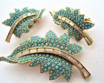 Ciner Brooch Earrings, Signed Ciner, Turquoise and Clear Rhinestones, Leaf Jewelry Set