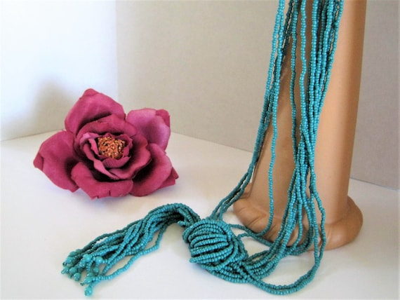 Turquoise Multistrand Necklace -  Bead Torsade Necklace - 14 Strand Tassel Necklace