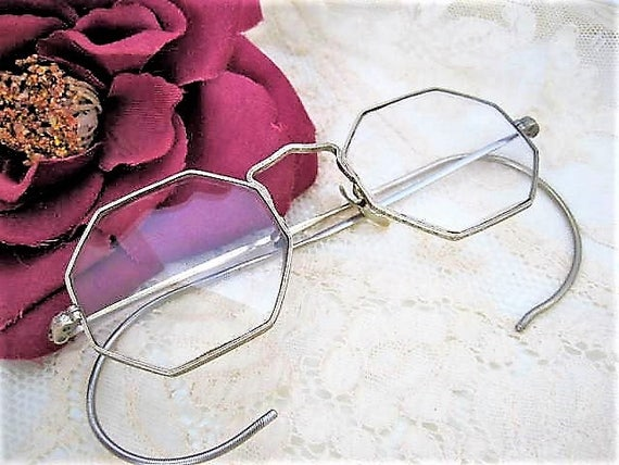 40's Eyeglasses, Wire Rimmed Glasses, Hexagon Frames, Gold Tone, Original Case, Dr. Murray Silverman