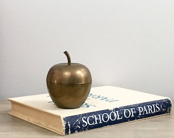 Vintage Brass Apple Box Container Fall Back to School Desk Teacher Rustic Farmhouse Decor