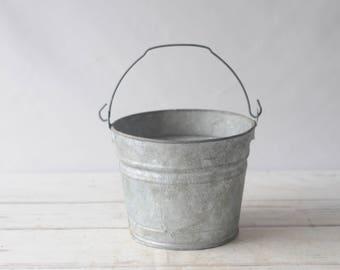Galvanized buckets etsy for Galvanized metal buckets small