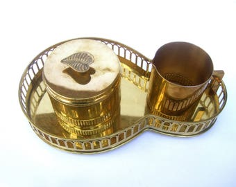Sleek Brass Metal Art Deco Creamer & Sugar Dish Set