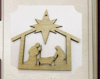 Nativity Ornament - Laser Cut Wood