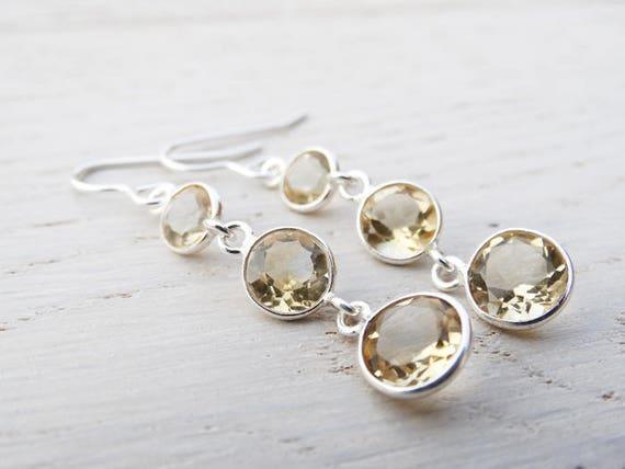 Long Drop Earrings - Round Citrine & Sterling Silver