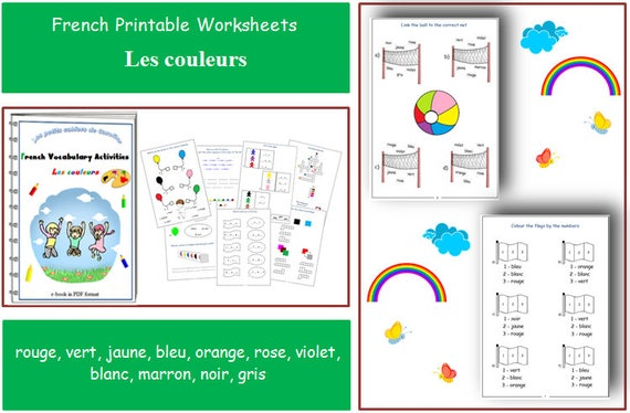 Learning French Colours with Teacher Worksheets / French for