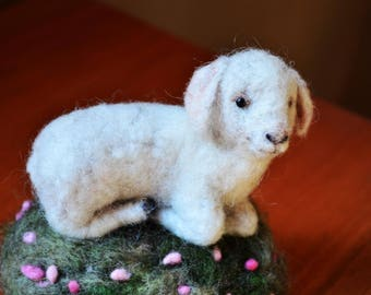Needle Felted Little Lamb - Needle Felted Ornament by Rustles from the Meadow