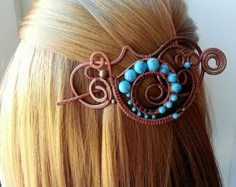 Turquoise copperHair slide or hair pin,copper hair barrette ,copper hair clamp, hair accessories for women, hair clip barrette, hair stick