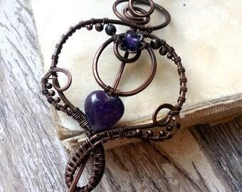 Elegant Shawl Pin / Purple Copper Brooch / Fibula Pin / Sweater Pin / Scarf Pin / Amethyst brooch/