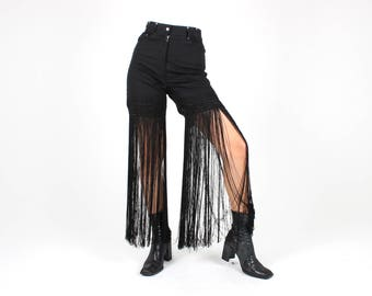 AMAZING 80s Super Long Fringe Sexy Western Cowgirl High Waist Flared Black Avant Garde Jeans / Pants