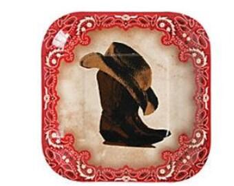 Wild West Dessert Plates, Cowboy Paper Plates, Western Dinnerware, Luncheon Plates