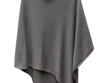 Taupe grey 4ply 50/50 cashmere silk poncho