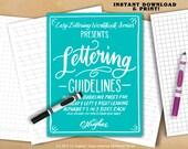Easy Script Lettering Workbook Series Presents Lettering Guidelines - Lettering Guides - Hand Lettering Guidebook - Lettering Worksheets