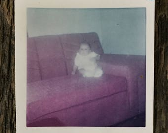 Original Vintage Color Photograph Strange Baby