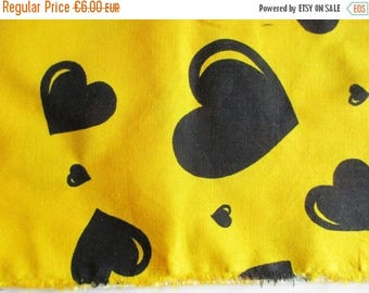 SUMMER SALE - German Vintage Yellow Cotton Fabric with Printed Black Hearts Restpiece for sewing / Sewing supply yardage from the 80s