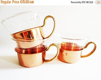 SUMMER SALE - Set of 3 German Vintage Boho Copper Tea Cup Holders with Glass inserts, Boho Modern Classic, 70s Design