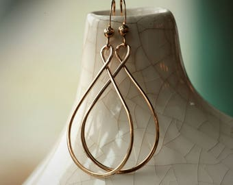 14K Gold Filled Teardrop / Infinity Symbol Hoop Earrings