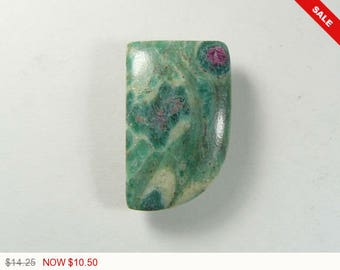 Ruby and Fuchsite cabochon, 20x32x5.5 mm,designer cabochon, gemstone cabochons, flat back cabochons, natural stone cabochons (rf42074)