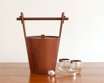 Vintage Large Anri Form Mad Men Staved Teak Ice Bucket Italy - Mid Century