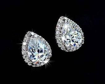 Teardrop Stud Bridal Earrings - Rhinestone Bridesmaid Teardrop Stud Earrings - Mother of the Bride Rhinestone Earrings