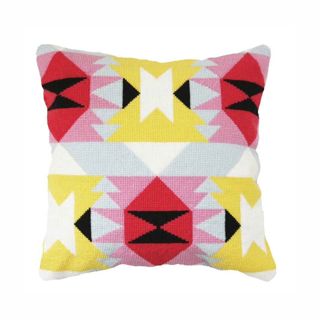 Modern Cross Stitch Pillow Kits : Modern Mexican / Navajo - style Cross Stitch - needlepoint Kit, Verano from pompomkits on Etsy ...