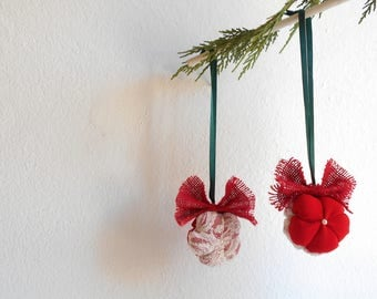 Set of two Christmas tree decoration Elegant chic ornament with Fabric flowers