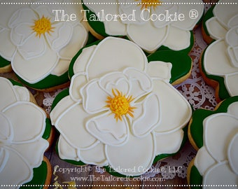 Magnolia Flower Vanilla Shortbread Sugar Cookie Favors LARGE, White, Gold, Green