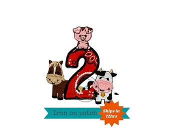 ON SALE NOW Farm animal number 2 with bandanna fabric, pink bandanna, red bandanna, barn yard animal second birthday party, 2nd birthday out