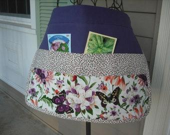 6-pocket Butterfly Flowered Spring Gardening Apron.