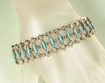 Petit Point Bracelet - Vintage Southwest Style Faux Turquoise Link Acrylic Cabochon
