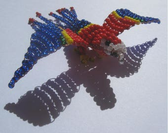 Miniature Parrot seed beads and copper wire