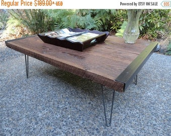 Limited Time Sale 10% OFF Industrial Coffee Table from old barnwood with hairpin legs