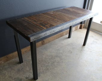 Industrial Dining Table with raw steel trim and straight steel legs